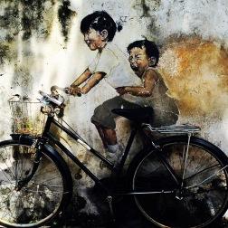 BOY & GIRL ON CYCLE MURAL