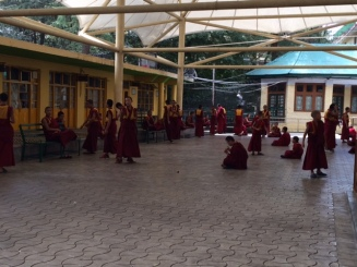 YOUNG BUDDHIST MONKS DEBATING SESSION