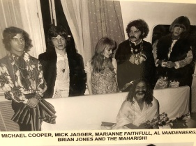 MICK JAGGER(SECOND RIGHT) MARIANNE FAITHFULL BRIAN JONES(FAR LEFT)