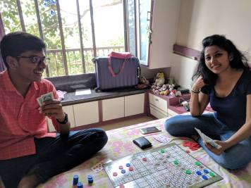 NEEL AND NIRVI ENJOYING A GAME
